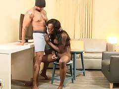 Chocolate She-Male Gives Friend Blowjob 1