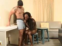 Black Tranny Swallows Lover`s Cock 1