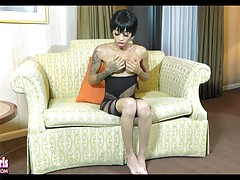 Erika is a hot slim tgirl with a sexy body, nice big breasts, a delicious cock and a magnificent bubble butt! Watch this hottie showing off her sexy ass!