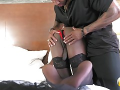 Gorgeous Amour is a stunning black tgirl with an amazing body, sexy breasts, a delicious ass and a hot bubble butt! Watch as Amour gives Soldier Boi a sexy blowjob before he eats her out! Well warmed up they`re soon fucking hard!