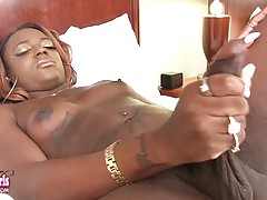 Chanel Cakes is a sexy black tgirl with a hot body, sexy boobs, a great ass and a big thick cock! Enjoy this hot transgirl jacking off and cumming for you!