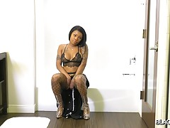 Pinky is back! This beautiful transgirl got an amazing body, big boobs with pierced nipples, sexy tattoos and a juicy round booty! Watch her posing in her sexy lingerie and showing off her perfect ass!