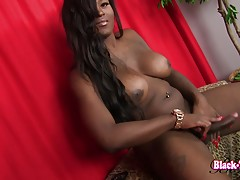 Toya is a beautiful girl with big boobs, a great ass and a huge hard cock!